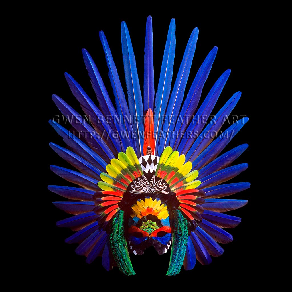 Feather Mask Blue Aztec II