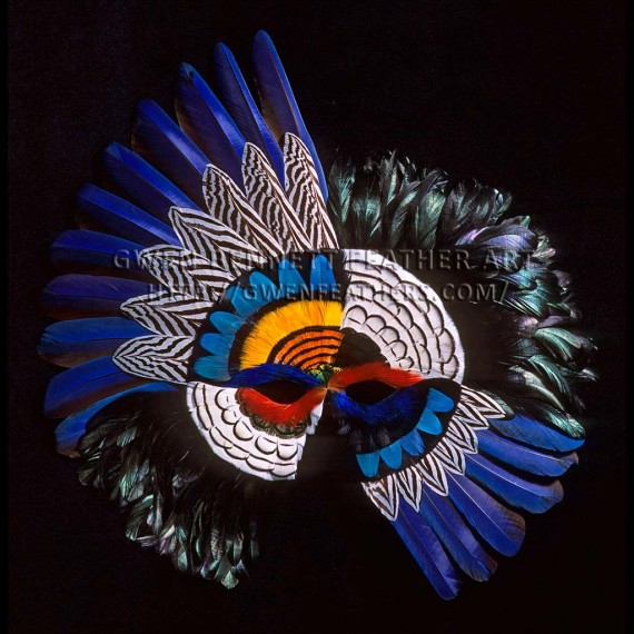 Feather Mask Asymmetrical Blue Black Macaw Wing Mask