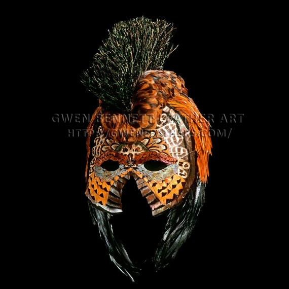 Feather Mask Hawaiian Helmet