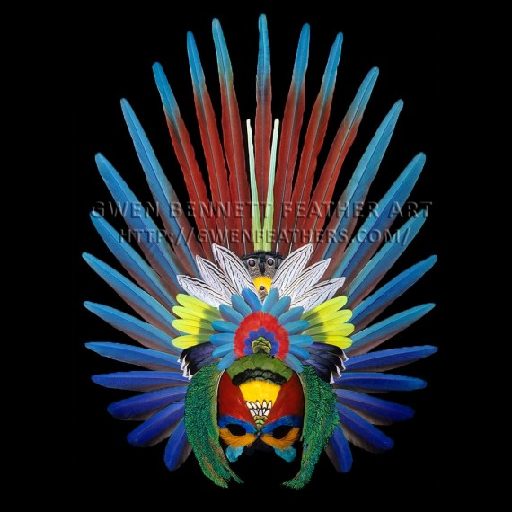 Feather Mask Red Aztec Mask