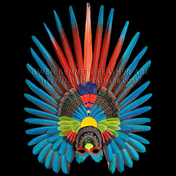 Feather Mask Scarlet Peacock Aztec Mask